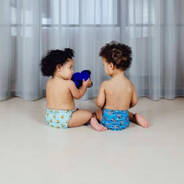 Bambino Mio – miosolo one size - Twee kindjes in Bambino Mio luiers blauw